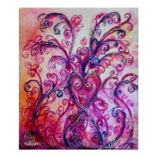 WHIMSICAL FLOURISHES,PINK PURPLE SWIRLS WITH HEART POSTER