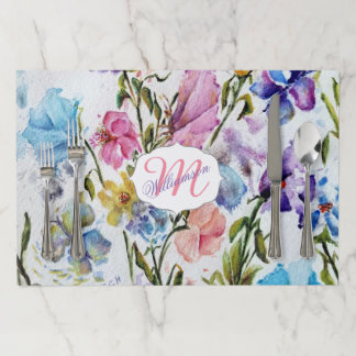 WHIMSICAL FLOWER AND BUTTERFLY GARDEN PAPER PLACEMAT