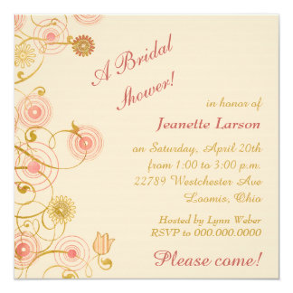 Whimsical Flower Border Bridal Shower Card