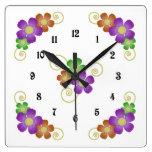 Whimsical Flower Design Wall Clock