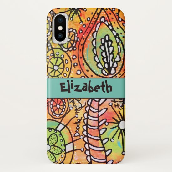 Whimsical Flower Doodles Orange Lime Green Black iPhone XS Case