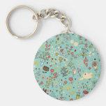 Whimsical Flower Garden Basic Round Button Keychain