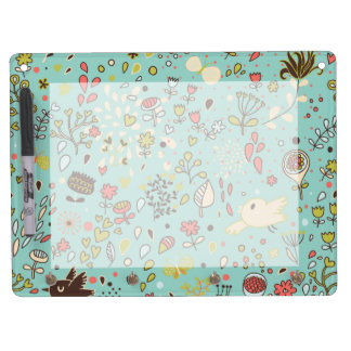 Whimsical Flower Garden Dry Erase Board With Keychain Holder