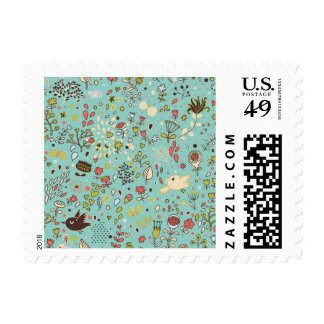 Whimsical Flower Garden Postage Stamp