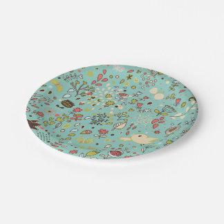 Whimsical Flower Garden 7 Inch Paper Plate