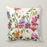"Whimsical Flower Garden Throw Pillow<br><div class=""desc"">Magical and Whimsical Watercolor Bird House amid colorful watercolor flowers and butterflies . .A gorgeous and airy design that will put beauty into any room. For all or any occasion – make your own statement and be unique and remembered for your thoughtfulness. Colors of lavender, pink orange, coral, mauve, blue,...</div>"