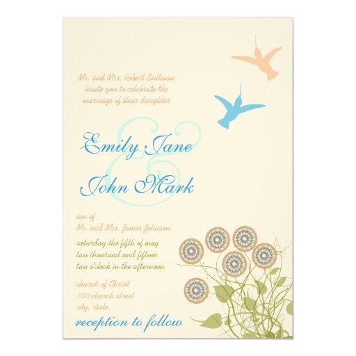 Whimsical Flower Amp Humming Bird Wedding Invitation