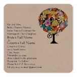 "Whimsical Flower Love Tree Wedding Invitation 5.25"" Square Invitation Card"