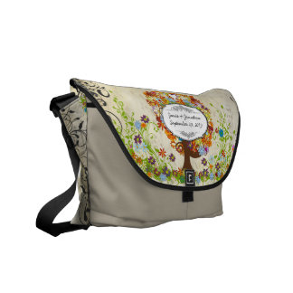 Whimsical Flower Tree Wedding Courier Bag