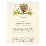 Whimsical Flower Tree Wedding Direction Cards Custom Invite