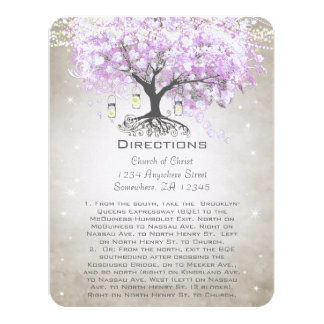 "Whimsical Flower Tree Wedding Direction Cards 4.25"" X 5.5"" Invitation Card"