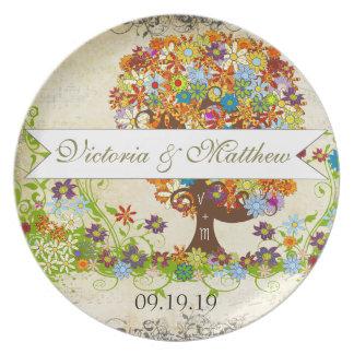 Whimsical Flower Tree Wedding Dinner Plates