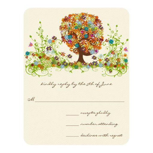 Whimsical Flower Tree Wedding Response Cards Personalized Invites