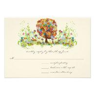 Whimsical Flower Tree Wedding Response Cards Invite