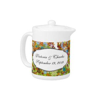 Whimsical Flower Tree Wedding Teapot