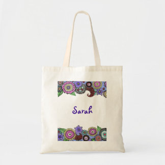 Whimsical Flower Trim customizable tote bag