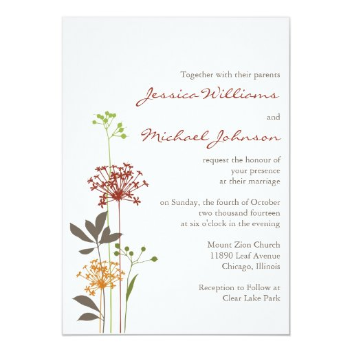 Whimsical Flowers 5x7 Paper Invitation Card