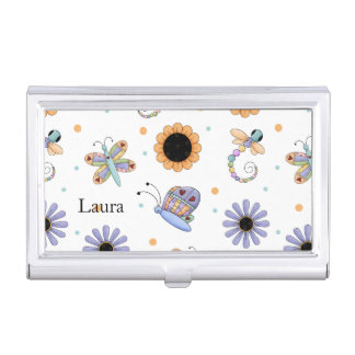 Whimsical Flowers and Bugs Mommy Card Case Business Card Holders