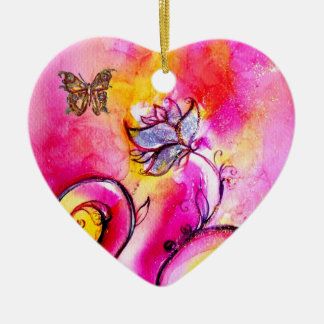 WHIMSICAL FLOWERS  AND BUTTERFLIES HEART CERAMIC ORNAMENT