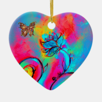 WHIMSICAL FLOWERS  AND BUTTERFLIES HEART CHRISTMAS TREE ORNAMENT