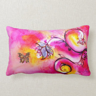 WHIMSICAL FLOWERS  AND BUTTERFLIES LUMBAR PILLOW
