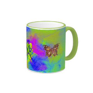 WHIMSICAL FLOWERS  AND BUTTERFLIES COFFEE MUGS