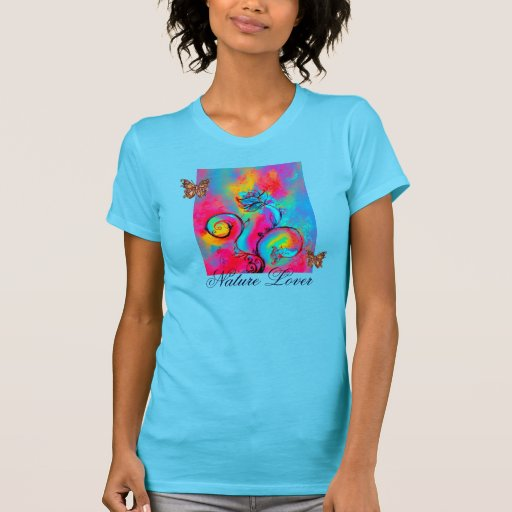 WHIMSICAL FLOWERS  AND BUTTERFLIES NATURE LOVER T SHIRT