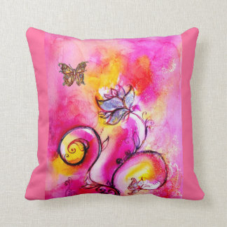 WHIMSICAL FLOWERS  AND BUTTERFLIES THROW PILLOW