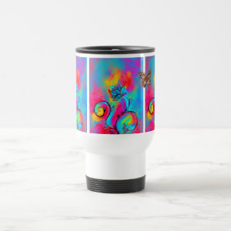 WHIMSICAL FLOWERS  AND BUTTERFLIES TRAVEL MUG