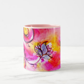 WHIMSICAL FLOWERS  AND BUTTERFLIES Two-Tone COFFEE MUG