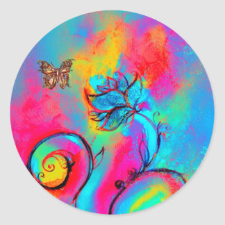 WHIMSICAL FLOWERS AND GOLD  BUTTERFLY CLASSIC ROUND STICKER