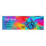 WHIMSICAL FLOWERS AND GOLD  BUTTERFLY MINI BUSINESS CARD