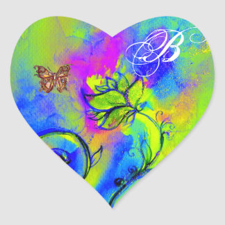WHIMSICAL FLOWERS AND GOLD  BUTTERFLY MONOGRAM HEART STICKER