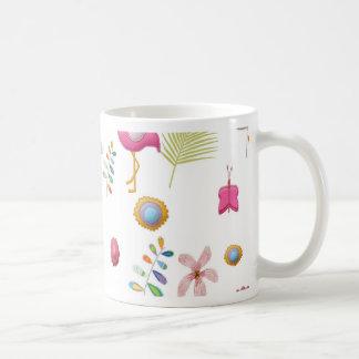 Whimsical Flowers and Pink Flamingos Coffee Mug