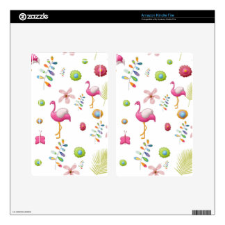 Whimsical Flowers and Pink Flamingos Decals For Kindle Fire