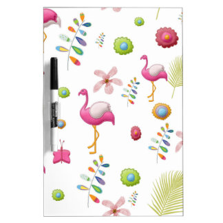 Whimsical Flowers and Pink Flamingos Dry-Erase Board