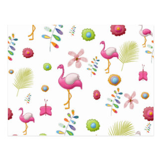 Whimsical Flowers and Pink Flamingos Postcard