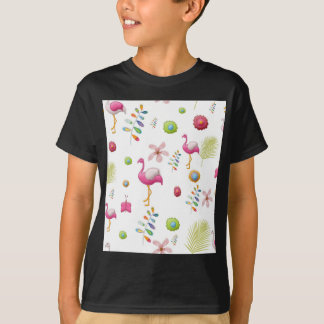 Whimsical Flowers and Pink Flamingos T-Shirt
