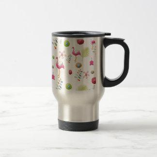 Whimsical Flowers and Pink Flamingos Travel Mug
