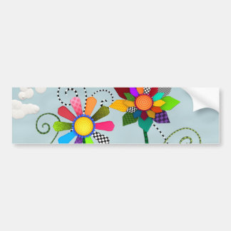 Whimsical Flowers Bumper Sticker
