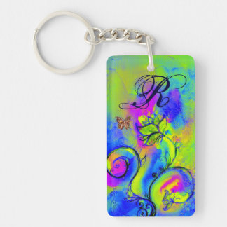 WHIMSICAL FLOWERS & BUTTERFLIES blue green yellow Double-Sided Rectangular Acrylic Keychain