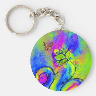 WHIMSICAL FLOWERS & BUTTERFLIES blue green yellow Basic Round Button Keychain