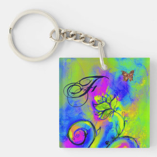 WHIMSICAL FLOWERS & BUTTERFLIES blue green yellow Double-Sided Square Acrylic Keychain