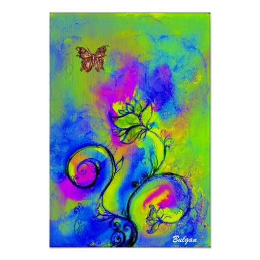 WHIMSICAL FLOWERS & BUTTERFLIES  blue green yellow Poster