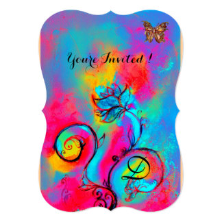 WHIMSICAL FLOWERS & BUTTERFLIES Blue pink yellow Card