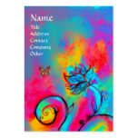 WHIMSICAL FLOWERS & BUTTERFLIES blue pink yellow Large Business Card