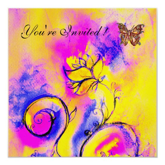 WHIMSICAL FLOWERS & BUTTERFLIES pink blue yellow Card