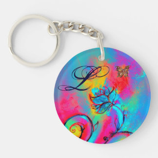 WHIMSICAL FLOWERS & BUTTERFLIES pink yellow blue Double-Sided Round Acrylic Keychain