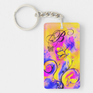 WHIMSICAL FLOWERS & BUTTERFLIES pink yellow blue Double-Sided Rectangular Acrylic Keychain