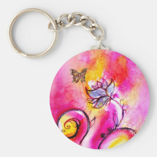 WHIMSICAL FLOWERS & BUTTERFLIES pink yellow blue Basic Round Button Keychain